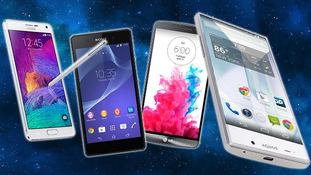 Diese Handys bieten die größte Bildschirmfläche (Bild: LG, Sony, Samsung, Sharp. thinkstockphotos.de, krone.at-Grafik)