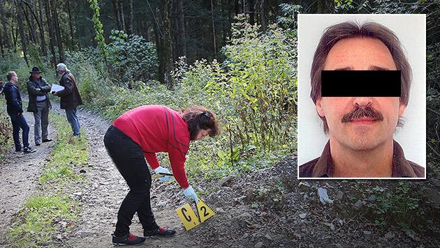"""An dieser Stelle gab der Verdächtige Erwin P. nach seiner Flucht auf: """"Ich kann nicht mehr!"""" (Bild: Uta Rojsek-Wiedergut, Polizei)"""