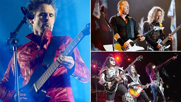 "Muse, Metallica, KISS - Mainacts des ""Rock in Vienna"" (Bild: AP/EDWARD ORNEALS, AP/AP/JONATHAN SHORT, JON FURNISS)"