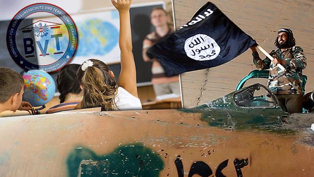 Terrorfahnder warnen an Schulen vor Heiligem Krieg (Bild: bmi.gv.at, AP, thinkstockphotos.de, krone.at-Grafik)
