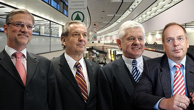 Die früheren Vorstandsdirektoren Schmid, Kaufmann, Gabmann und Domany (Bild: APA/HELMUT FOHRINGER, APA/ROLAND SCHLAGER, krone.at-Grafik)