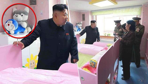 Hat sich da jemand einen kleinen Spaß mit Kim Jong Un erlaubt? Sieht fast so aus! (Bild: KCNA)