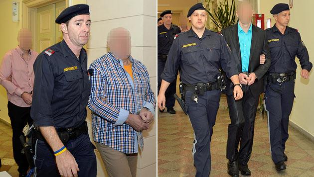 Die drei Angeklagten am Weg in den Gerichtssaal (Bild: APA/DANIEL LIEBL/ZEITUNGSFOTO.AT)