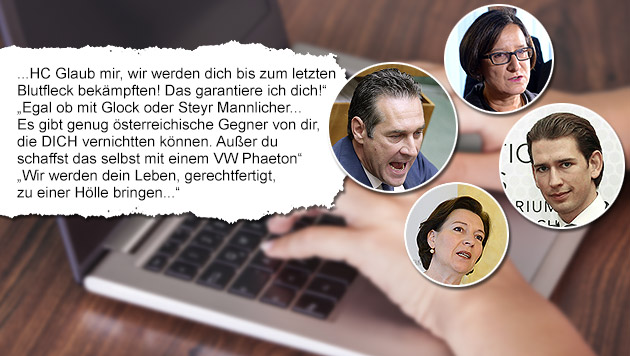 Morddrohungen gegen zahlreiche Politiker im Netz (Bild: APA/HOCHMUTH, APA/BMEIA DRAGAN TAT, APA/SCHLAGER, APA/FOHRINGER)