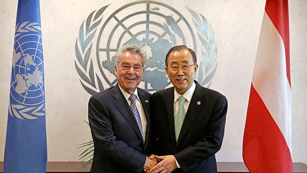 Heinz Fischer mit Ban Ki Moon im Rahmen der UNO-Generalversammlung im September in New York (Bild: APA/BUNDESHEER/PETTER LECHNER)