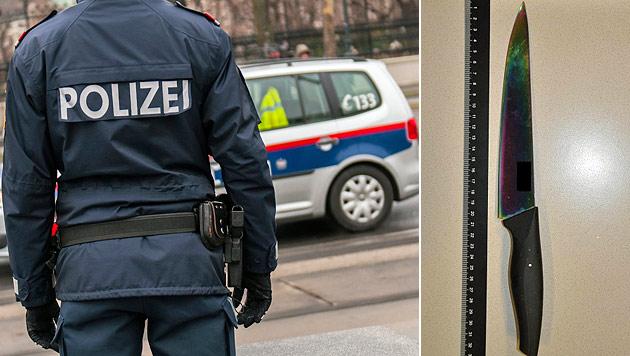 Mit diesem Messer bedrohte der 20-Jährige die Bäckerei-Angestellten. (Bild: Andreas Graf, Polizei)
