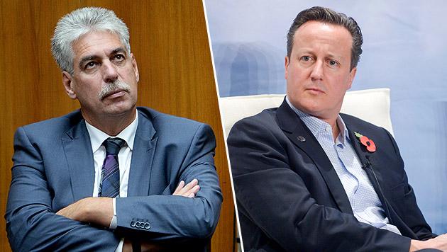 Schelling (links) und der britische Premierminister David Cameron (Bild: APA/ROLAND SCHLAGER, APA/EPA/ KIMMO BRANDT)
