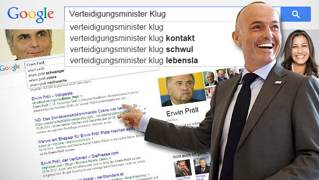 """Österreichische Politiker in der """"Google-Falle"""" (Bild: APA/HELMUT FOHRINGER, google.at, krone.at-Grafik)"""