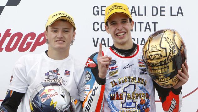Alex Marquez gewann den WM-Titel in der Moto3-Klasse mit hauchdünnem Vorsprung auf Jack Miller. (Bild: AP)