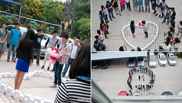 Heiratsantrag mit 99 iPhones in China abgelehnt (Bild: Weibo)