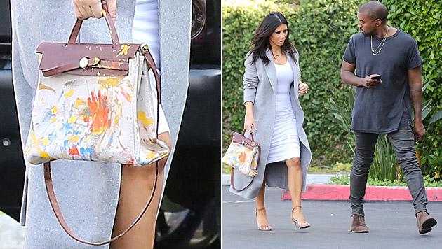 Kim Kardashian führt die von North verzierte Tasche aus. (Bild: Viennareoprt)