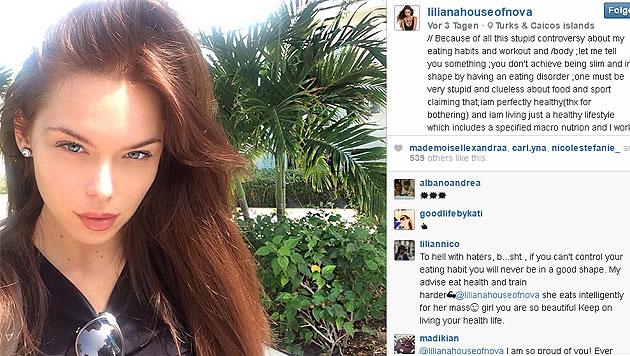 Liliana Nova wehrt sich auf ihrer Instagram-Seite gegen Magersuchtgerüchte. (Bild: instagram.com/lilianahouseofnova)