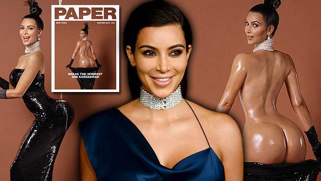 """Kim Kardashian am Cover des """"Paper""""-Magazins. Der ölige Po sollte das Internet lahmlegen. (Bild: Paper, Jordan Strauss/Invision/AP, krone.at-Grafik)"""