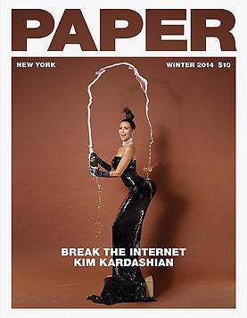"""Kim Kardashian ziert das Cover des """"Paper""""-Magazins - auf ihrem Po steht ein Champagnerglas. (Bild: Paper)"""