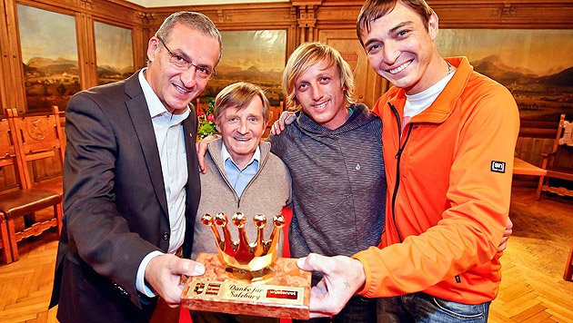 Stadtchef Gerhard Anzengruber mit Karl Wesenauer, Jakob Ellmauthaler und Thomas Schürer (Bild: Markus Tschepp)