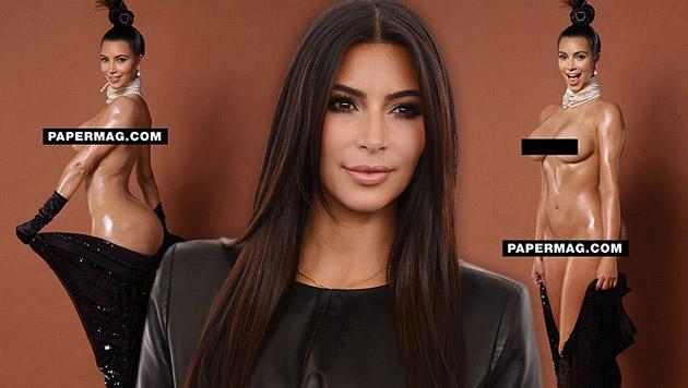 """Auf Instagram zeigt das """"Paper""""-Magazin weitere Nacktfotos von Kim Kardashian. (Bild: instagram.com/papermagazine, Jordan Strauss/Invision/AP)"""