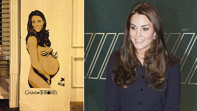 Großbritannien ist entzückt von Kates nacktem Babybauch. (Bild: www.pegasusstreetart.com, AFP)