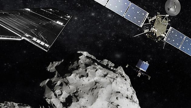 """""""Rosetta"""" setzt den Lander """"Philae"""" ab. (Bild: ESA/Rosetta/Philae/CIVA, AP, EPA)"""