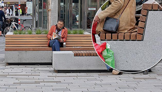 """Aufregung um Tropenholz in """"Mahü""""-Fußgängerzone (Bild: Clemens Groh, krone.at-Grafik)"""