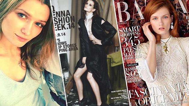 """Katerina Netolicka zierte das Plakat der Vienna Fashion Week 2014 sowie einige Cover. (Bild: YouTube.com/TomoNews US, Vienna Fashion Week, Harper""""s Bazaar)"""
