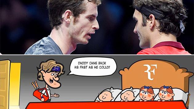 Ein Federer-Fan stellte via Facebook den klaren Sieg des Schweizers mit viel Witz grafisch dar... (Bild: APA/EPA/ANDY RAIN, facebook.com)
