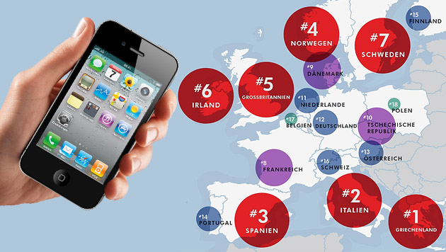 Kaputte Handys: Das sind Europas größte Pechvögel (Bild: Apple, Squaretrade.com, krone.at-Grafik)