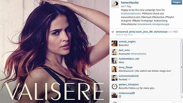 """Für Valisères Herbst-/Winterkampagne steht das Ex-""""Topmodel"""" derzeit vor der Kamera. (Bild: instagram.com/hananitsche)"""
