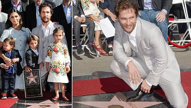 Matthew McConaughey mit seiner Familie bei der Verleihung des Sterns am Walk of Fame. (Bild: AP)