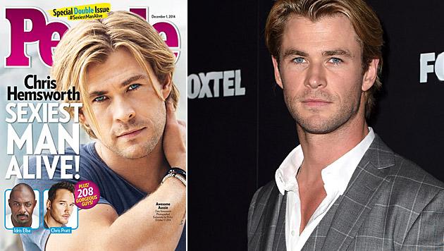 """Chris Hemsworth ist der """"Sexiest Man Alive"""" 2014. (Bild: People, APA/EPA/DAN HIMBRECHTS)"""