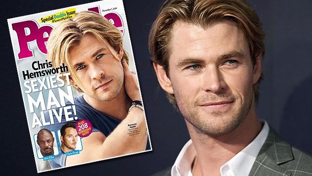 "Chris Hemsworth ist ""Sexiest Man Alive"" (Bild: People, APA/EPA/DAN HIMBRECHTS)"