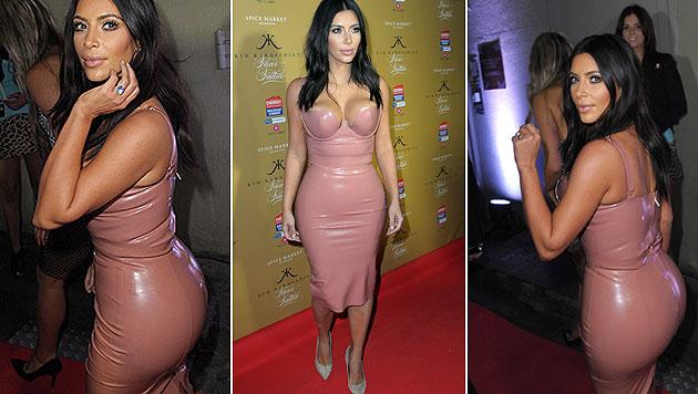 In Melbourne sorgte Kim Kardashian im knallengen rosafarbenen Latexkleid für Aufsehen. (Bild: AP)