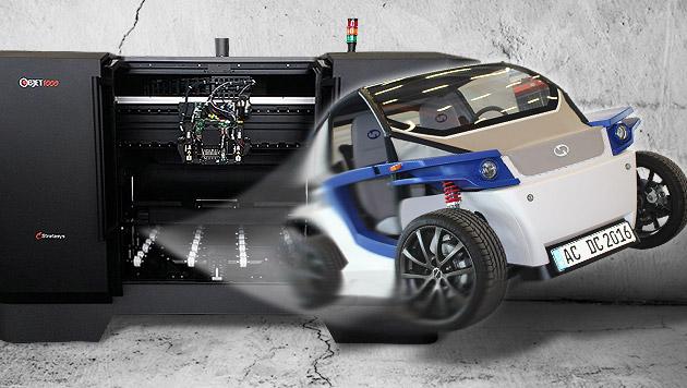 """Deutsche Tüftler """"druckten"""" neues Elektroauto aus (Bild: Stratasys / StreetScooter, krone.at-Grafik, thinkstockphotos.de)"""