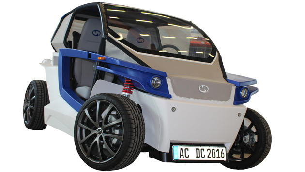 Aus vielen 3D-gedruckten Einzelteilen erbaut: Der Prototyp des StreetScooter C16 (Bild: Stratasys/StreetScooter)
