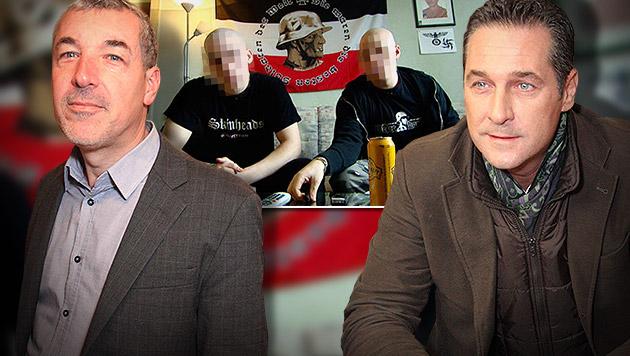 Ed Moschitz (li.) und FPÖ-Chef Heinz-Christian Strache; im Hintergrund ein Ausschnitt aus dem Video (Bild: Martin A. Jöchl, ORF, krone.at-Grafik)