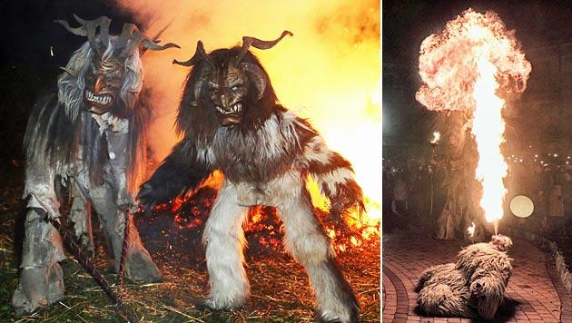 Das Fell eines Krampus-Darstellers einer Gruppe aus Bad Eisenkappel (re.) ging in Flammen auf. (Bild: perchtengruppe-badeisenkappel.at)