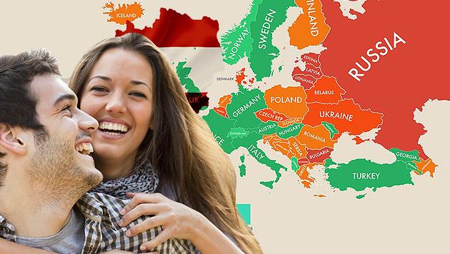 """""""Weltkarte des Glücks"""": Österreich nur auf Rang 48 (Bild: MoveHub.com,thinkstockphotos.de)"""