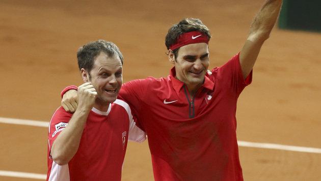 Roger Federer besiegelt Davis-Cup-Sieg für Schweiz (Bild: AP)