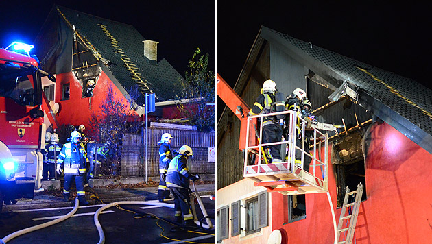 In dieser Doppelhaushälfte in Villach wütete das Feuer. (Bild: APA/HFW VILLACH/HFW VILLACH)