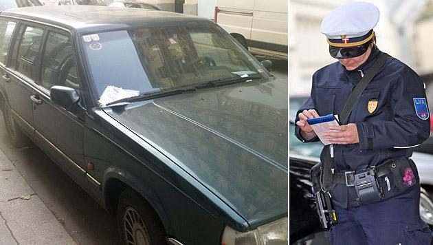 Zahlreiche Strafzettel wurden hinter den Scheibenwischer des Volvos geklemmt. (Bild: Florian Hitz, Peter Tomschi)