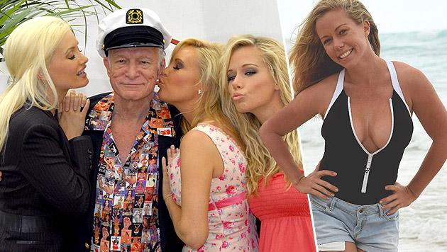 Hugh Hefner (linkes Bild) 2007 mit den Gespielinnen Holly, Bridget und Kendra (Bild: splash news)