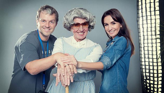 """Manfred Baumann mit """"Mrs. Doubtfire"""" Klaus Eberhartinger und Gattin Nelly (Bild: Manfred Baumann)"""