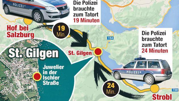 """Aus zwei Himmelsrichtungen eilte die Exekutive zum Tatort in St. Gilgen, kam allerdings zu spät. (Bild: """"Krone""""-Grafik)"""