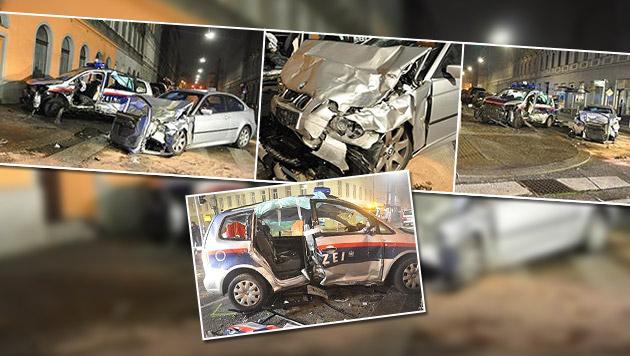 Polizistin bei Unfall lebensgefährlich verletzt (Bild: Polizei, krone.at-Grafik)