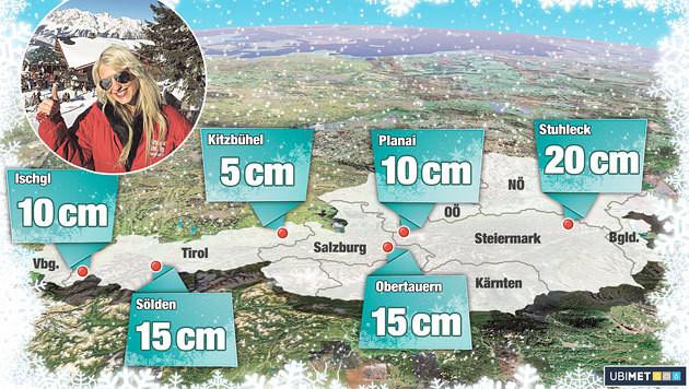 """Die Grafik zeigt die prognostizierten Schneemengen an den Wintersport-Hotspots. (Bild: """"Krone""""-Grafik)"""