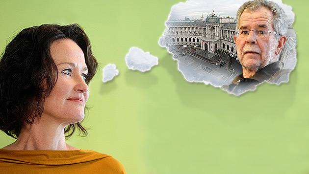 Die Grünen-Chefin hätte ihren Vorgänger gern in der Hofburg - aber der ist sich noch nicht sicher. (Bild: APA/Georg Hochmuth, APA/Herbert Neubauer, thinkstockphotos.de)