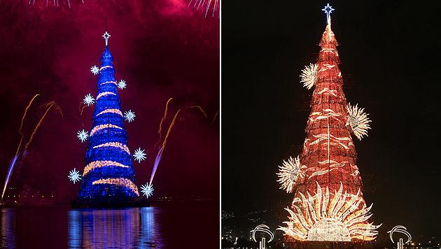 In Rio leuchtet der größte schwimmende Christbaum (Bild: AP, APA/EPA/FERNANDO MAIA)