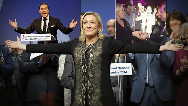 Le Pen wurde einstimmig als Vorsitzende des Front National bestätigt - Strache feierte mit. (Bild: AP, facebook.com, krone.at-Grafik)