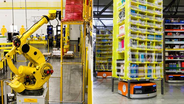 Kiva-Roboter (rechts) transportieren Regale, der Robo-Stow links ist für die Schwerarbeit zuständig. (Bild: Amazon)