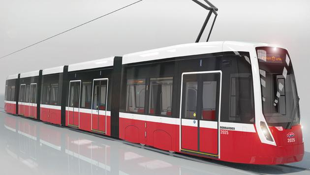 """So sehen die neuen Straßenbahnen vom Typ Bombardier """"Flexity"""" aus. (Bild: APA/BOMBARDIER/DÖLLMANN DESIGN + ARCHITEKTUR Z)"""