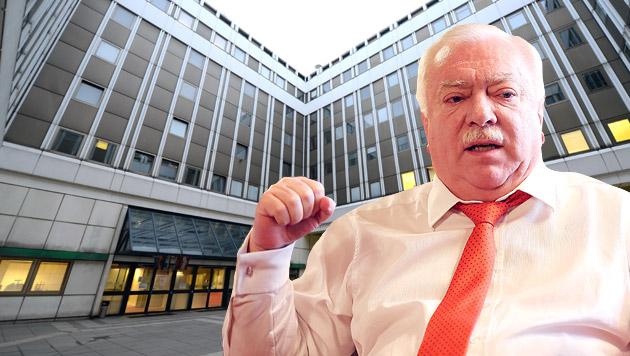 Bürgermeister Michael Häupl, im Hintergrund das Übergangsquartier in Wien-Erdberg (Bild: APA/HELMUT FOHRINGER, Peter Tomschi)